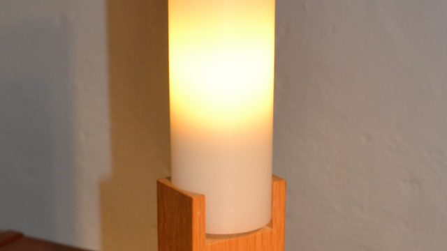 Oak Table lamp by U. & Ö. Kristiansson for Luxus Sweden, 1960s