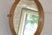 Oak Wall Mirror by Östen Kristiansson & Uno Kristiansson for Luxus, 1952