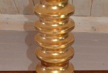 Vintage Gold German Ceramic Table Lamp, 1960s