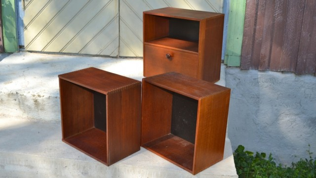 3 teak boxes.